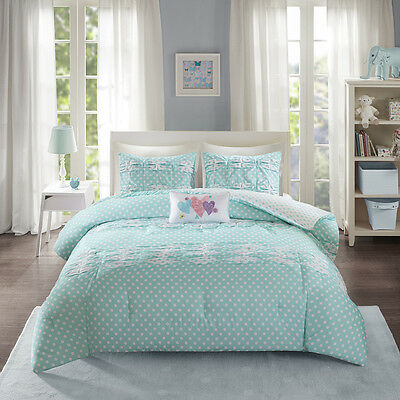 Lovely Girls Reverse Aqua White Polka Dots Comforter Full Queen TXL Twin Set