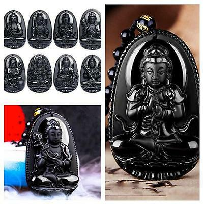 Natural Black Obsidian Carved Buddha Lucky Amulet Pendant Necklace Jewelry Charm