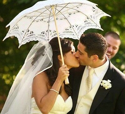 Elegant White/Champagne Lace Wedding Bridal Umbrellas Women's Fashion Umbrellas