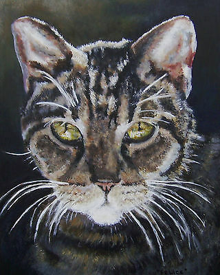 "CUSTOM CAT PORTRAIT PAINTING by artist BETS 14"" X 18"" Your Beloved Cat on Canvas"