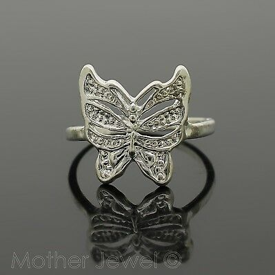 Stunning Gift Butterfly Sterling Silver Plate Girls Ladies Dress Ring Size 7 N