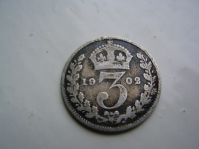 1902 Antique  Silver 3 Pence Coin Uk England £2.49 Post Free Uk
