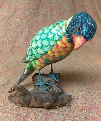 Old Vintage Hand Carved Wood Carving Art Tropical Colorful Parrot Sculpture Bird