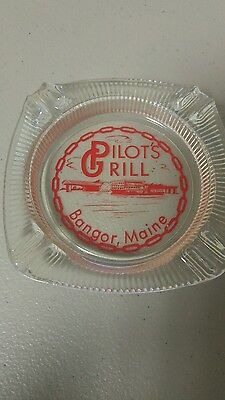 Vintage 1970's Glass Ashtray PILOT'S GRILL Bangor, Maine Quality Pre Owned