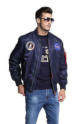 2016 MA-1 NASA letterman varsity american ollege bomber flight jacket for men