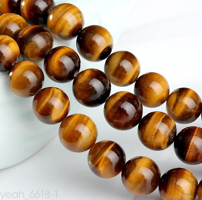 Natural Yellow Tiger Eye Stone Round Beads to make DIY Jewelry Bracelet Necklace