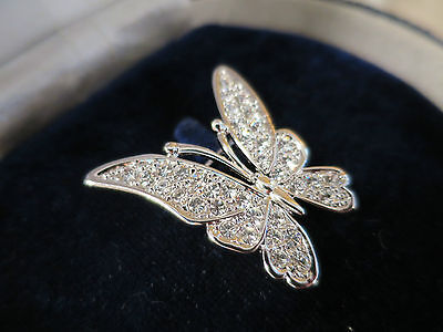 Vintage Rhinestone Butterfly Brooch, With Silver Tone, 1950's