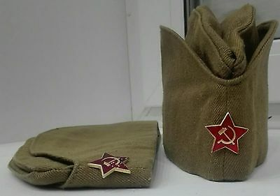 Soviet RUSSIAN USSR Soldier army Military Uniform Hat Pilotka with Red Star UNC