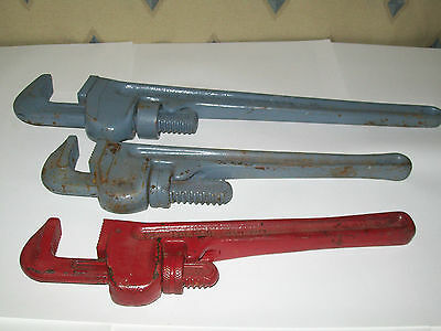Vintage 3pc. lot Heavy Duty PIPE WRENCH Great USA Made Craftsman ridgig  toledo