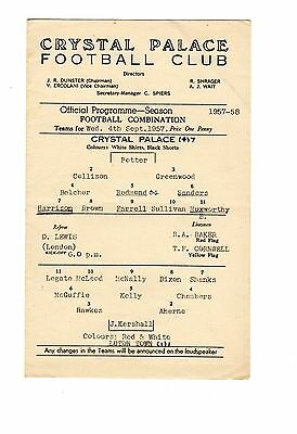 Crystal Palace v Luton Town Reserves Programme 4.9.1957
