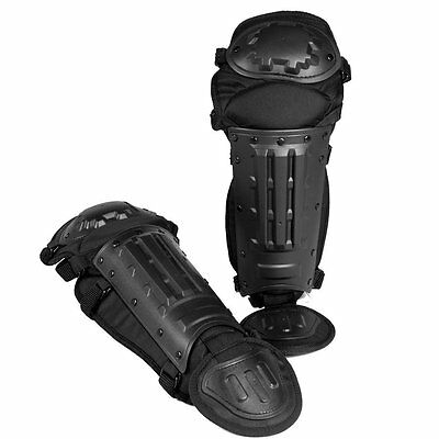 Tactical Patrol Anti-Riot Leg Shin Knee Guards Protection Police Security Black