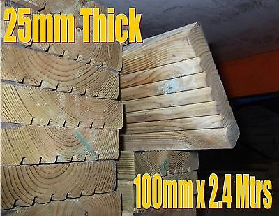 8 x Timber decking boards fully treated 2.4 metre x 100mm x 25mm thickness