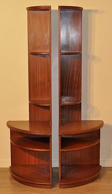 Pair of Attractive Vintage Mahogany Quarter Circle Corner Bookcase Shelves