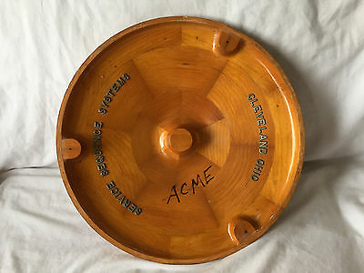 Vintage WOODEN INDUSTRIAL Mold Pattern ROUND WHEEL CAP LID Steampunk Foundry