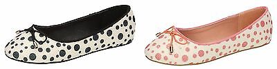 Girls Pink&Black Spot On Party Summer Sparkly Dolly Shoes UK Sizes 10 - 2 H2428