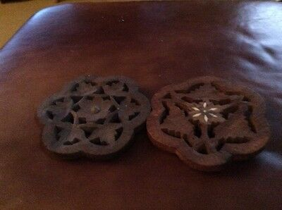LOT of 2 HAND CARVED WOODEN TRIVETS