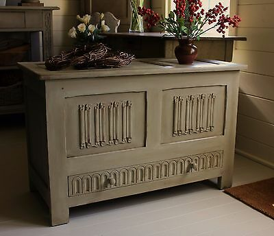 """Farmhouse Style """"rustic Painted"""" Linen Chest/blanket Box/coffee Table/storage"""