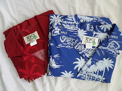 Lot of 2 KY's Size M Hawaiian Short Sleeve Front Button 1 Pocket Shirts