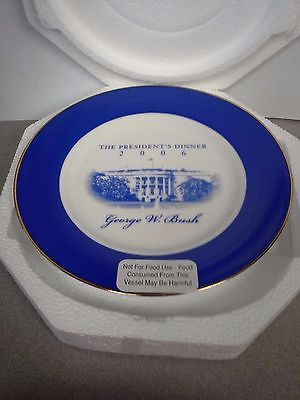 THE PRESIDENT'S DINNER 2006 GEORGE W.BUSH DECORATIVE PLATE MADE by BRYAN CHINA