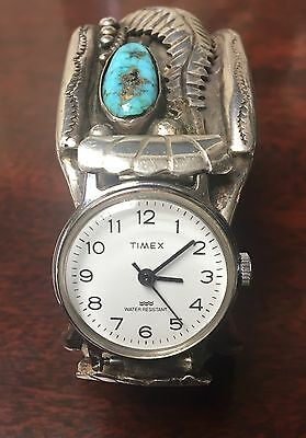 Vtg. Native American Zuni Sterling Silver Coral Turquoise Watch Cuff Signed MF