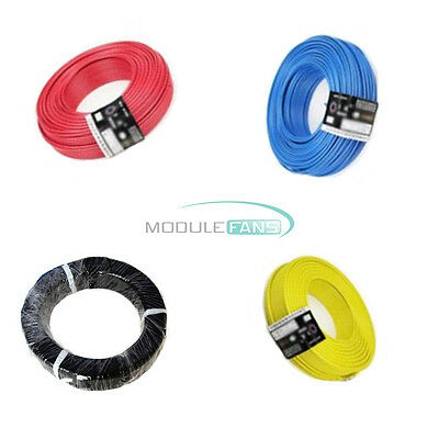 4 Color Red/Yellow/Blue/Black Flexible Stranded of UL-1007 24 AWG Wire Cable 10M