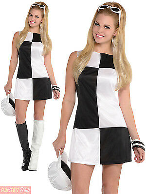 Ladies Mod Girl Costume Adult 60s 70s Go Go Fancy Dress Womens Sixties Outfit
