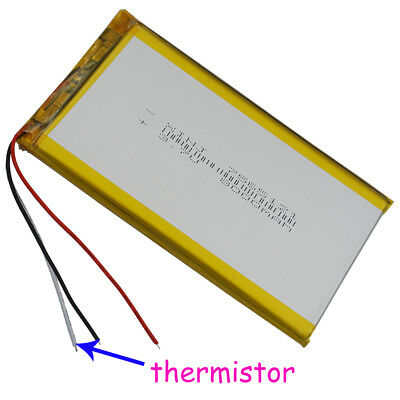 3.7V 8000 mAh Polymer Li Battery 3 wires for thermistor For Tablet PC 7565121 A