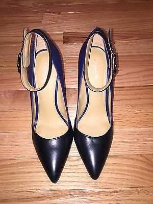 Coach Navy / Black Leather Ankle Strap High Heels Pumps Shoes Size 8 Pointy Toe
