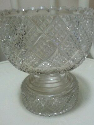 Two Heavy Clear cut glass pieces rose bowl&trinket box