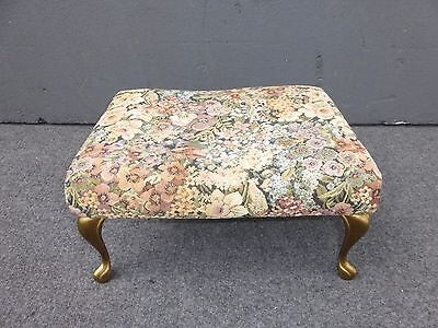 Vintage French Provincial Country Cottage FOOTSTOOL Tapestry Cabriole Legs