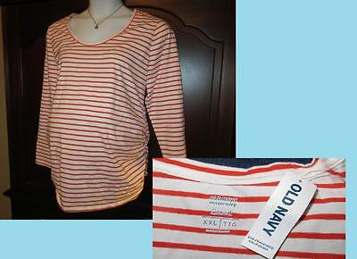 NEW XXL MATERNITY Old Navy Long Sleeve Top Tee Side Ruched Stripe Plus Size NWT