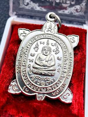 15462 Vintage Thai Buddha Touch Earth Iron Pendant Amulet Great Successfl Lucky