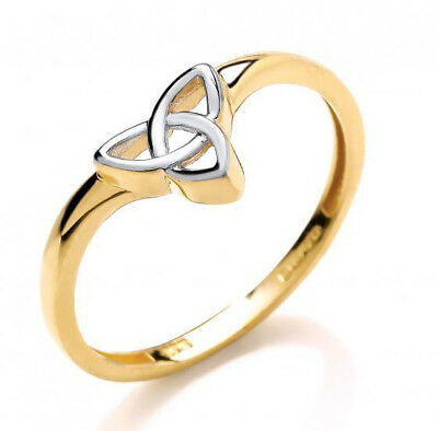 Solid 9Ct Hallmarked Yellow & White Gold Celtic Triquetra Design Ladies Ring