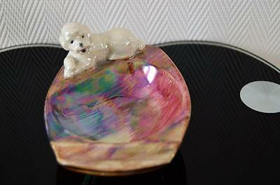 Lustre Ceramic Vintage Poodle Ash/Pin or Pen Tray By Old Court Ware