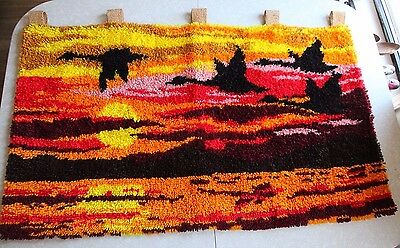 Vintage 70s Latch Hook Rug Wall Hanging Tapestry Art Sunset Geese Boho Groovy 30