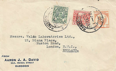 E 1686 Burma Rangoon  1949 commercial cover to UK; unsealed rate?