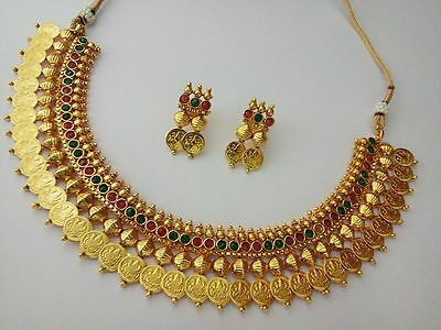 Indian Fashion jewelry Coin Temple Set bollywood ethnic Gold Traditional Set