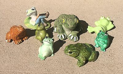 8 Vintage Porcelain - Ceramic - Composite Frog Reptile Animal Figurines    F9