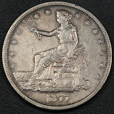United States 1877 S $1 Trade Dollar Silver Coin VF San Fransisco Mint