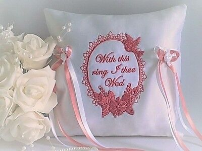 "WEDDING RING CUSHION. White/Ivory.19 trim colours Embroidered ""With this ring"""