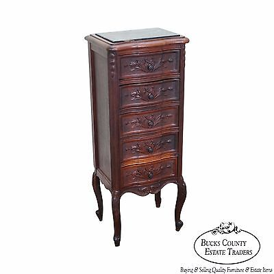 Antique French Louis XV Style Walnut Narrow Marble Top Chest