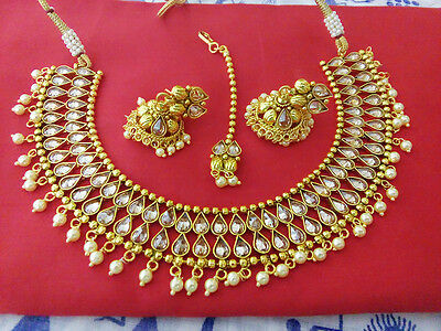 Indian Fashion Jewelry Necklace Earring Bollywood Ethnic Gold Plated Polki Set
