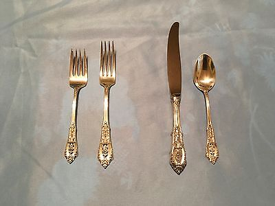 Wallace Sterling Silver Rose Point - Twelve 4-piece place settings