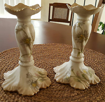 Limoges French Candlestick Holders with Gold Rims