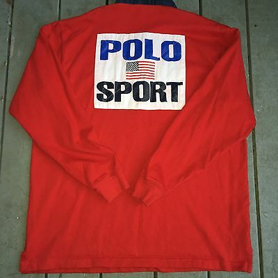 POLO SPORT Rugby Long Sleeves Sz XL. Big LOGO! Rare And Vintage .