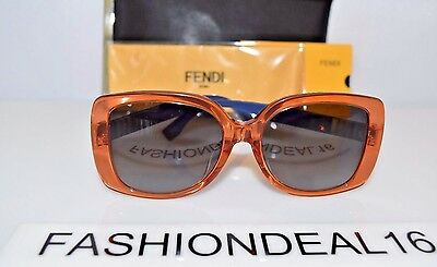 New FENDI Authentic Orange Blue Oversized FF 0014/S 7TCHD 56mm Sunglasses