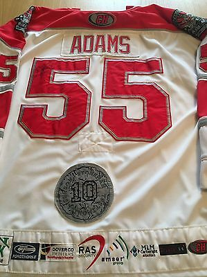 Cardiff Devils Game Worn Ice Hockey Jersey Shirt Gerad Adams Sheffield Steelers