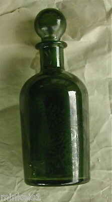 FRENCH PERFUME BOTTLE REPRODUCTION ~ c 1970 Green Glass  W/Glass Stopper