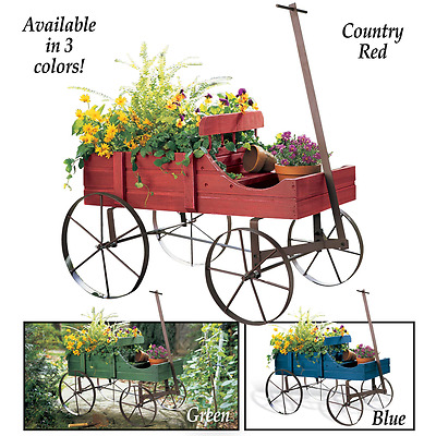 Wood Wagon Garden Planter Wheel Cart Flower Box Bed Pot Rustic Decor