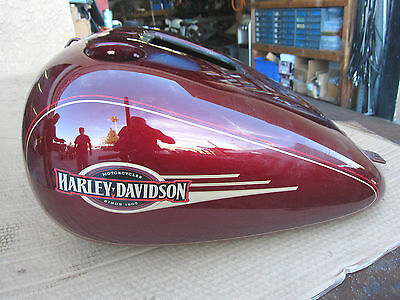 HARLEY 01-08 FLSTC Crimson Red gas tank with Candy Red/Gold striping New In box